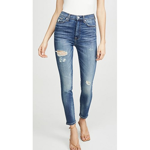 7 For All Mankind Girl's High Waist Ankle Skinny Jeans Distressed Authentic Light Online Wholesale FGNZ538